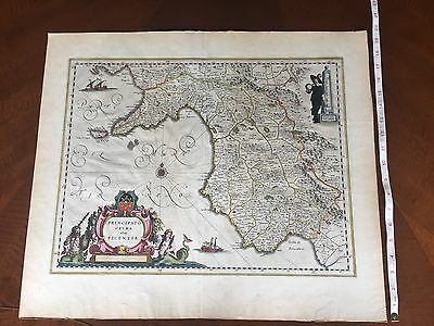 Willem Blaeu Antique Map of southern Italy, 1665 Principato Citra Olim Picentia