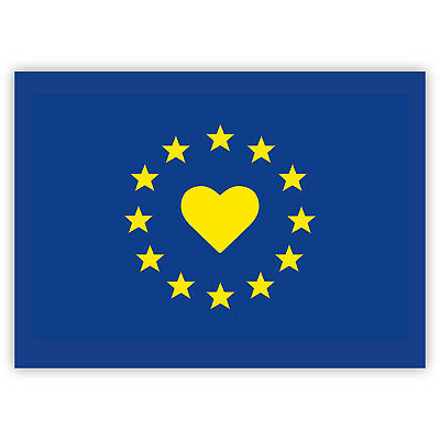 I love Europe Sticker Set - EU Flag Stickers - Yes to Europe (7.4 x 5.2 cm)