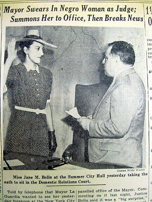 1939 NY Times newspaper JANE BOLIN APPOINTED the 1st NEGRO WOMAN JUDGE in the US