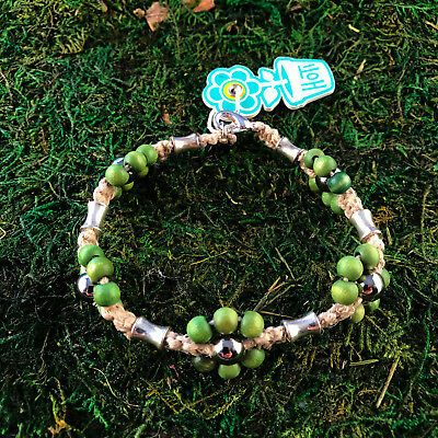 HOTI Hemp Handmade Natural Green Flower Wood Beaded Anklet Ankle Bracelet NWT