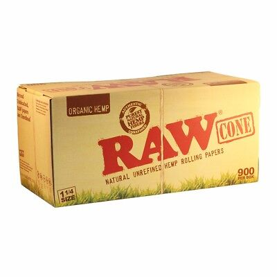 RAW Pre-rolled CONES 900 ct Natural Organic Rolling Papers w Tips 1 1/4 size Box