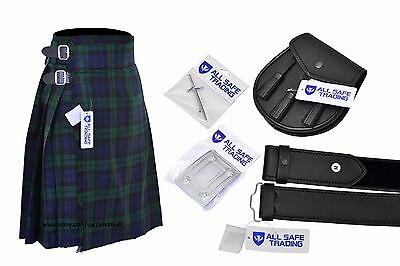 Men's Scottish 6 Piece Casual Kilt Outfit with Sporran, Black Watch Tartan Kilt