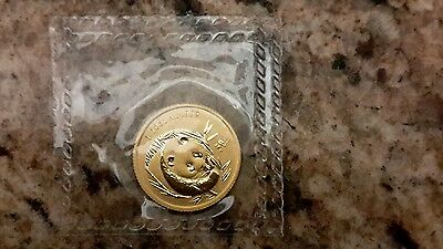 Chinese gold panda sealed mint coin 2003 1/10oz BU