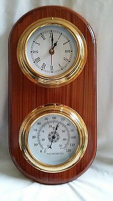 Weather Station Wooden Nautical Marine With Clock and Thermometer - Gift