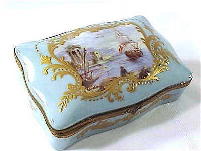 Antique porcelain box hand painted scenic Sevres style artist signed BEAUTIFUL!