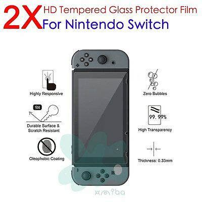 2X Premium Tempered Glass Screen Protector Guard Shield For Nintendo Switch 2017
