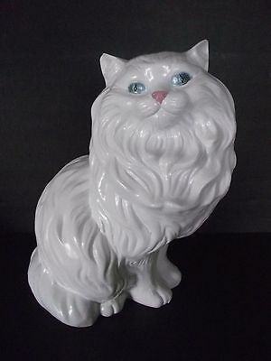 "Vintage Large White Persian Ceramic Kitty Cat Blue Eyes 14"" Tall"