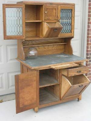 Early Hoosier Style Kitchen Cabinet with Tilt Out Bins, Etched Glass Doors