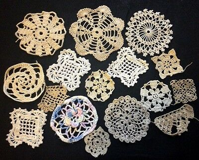 Sixteen Antique/Vintage Crochet Lace Various Patterns Samplers