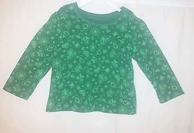 Children's Place Girls 18M Green Long Sleeve Butterfly Heart Floral Top