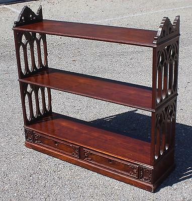 Antique Gothic William Iv English Rosewood Wall Shelf- In Need Of Restoration