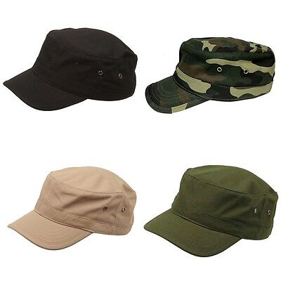 Kids Youth Solid Cotton Army Military Cadet Castro Patrol Flat Cap Caps Hat Hats