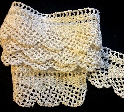 "Old Vintage Crochet Lace 40"" long 2"" wide for Bedding Pillowcase Trim Home Decor"