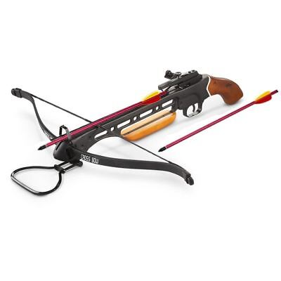150 lbs Short Stock Pistol Real Wooden Hunting Crossbow 2 Arrows