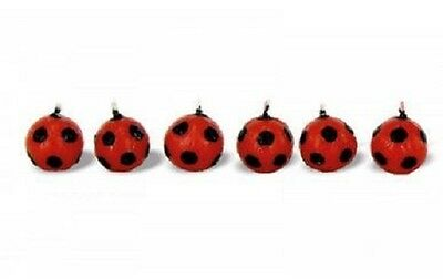 Set 6 Candles Birthday Football Ball Red Black Milan Candles Party