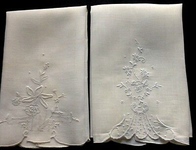 Two Lovely Guest Towels Hand Made White Embroidery & Appenzel Embroidery 20 x 14