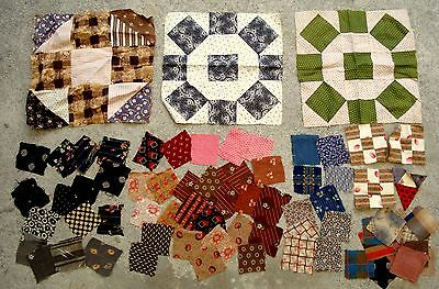 Lot of 65 Vtg Late 1800's Early 1900's fabric pieces & 6 quilt blocks