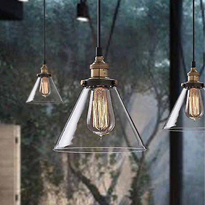 Glass Shade Vintage Industrial Fitting Ceiling Pendant Light Chandelier LED Lamp