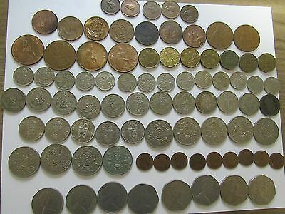 Lot of 82 Different Obsolete Great Britain Coins - 1937 to 1982 - Circulated