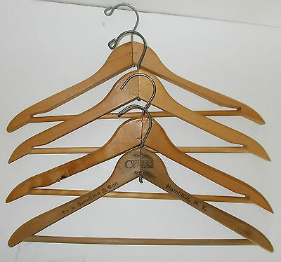 "Lot of 4 Vintage Old Triangle Wood Coat Clothing Suit Pants 17"" Hangers Closet"