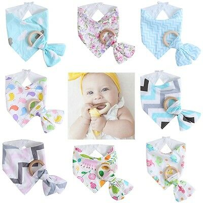 Infant Baby Feeding Saliva Towel Dribble Triangle Bandana Bibs Wood Teether Ring