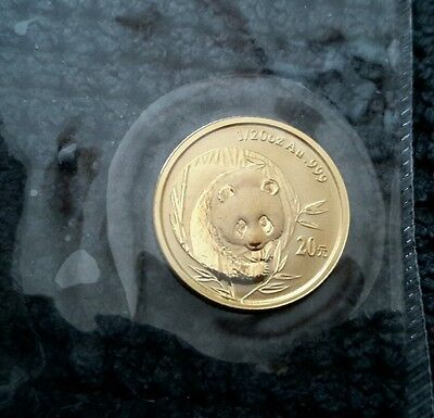 Chinese gold panda coin sealed mint 1/20 oz 2003 frosted bamboo