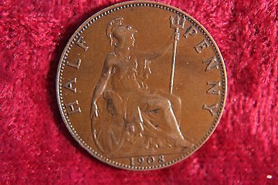 UK Great Britain Half 1/2 Penny 1908  Old Coin K