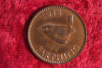 UK Great Britain Farthing 1938 Toned Old Bird Coin Old Coin K