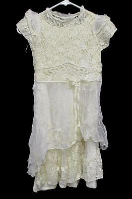 Antique Vintage Children's Girls Ivory Lace Short Sleeve Dress W/ Slip Handmade