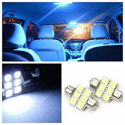 2PCs Pointed 31mm 6SMD 5050 Car Dome Light Indoor Lamp License Plate Bulbs