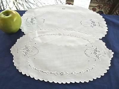 2 Antique MADEIRA Hand Embroidered Bridal Basket White Linen Oval Doilies 8x17""