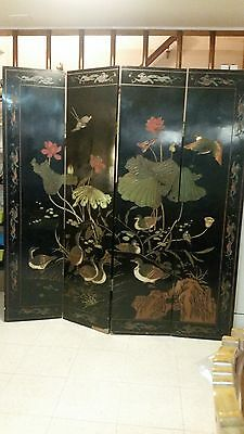 CHINESE ANTIQUE COROMANDEL SCREEN, ca. 1920, 4 Panel, with scenes on both sides!