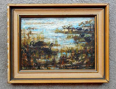 "Australian  Impressionist Impasto Oil Painting On Board ""Black Swans"" Signed"