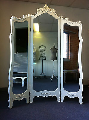 New French Provincial Room Divider Tri-Fold Dressing Mirror Boutique Chic
