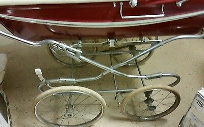 Vintage Silver Cross Pram - Baby Carriage Maroon/White. Z01