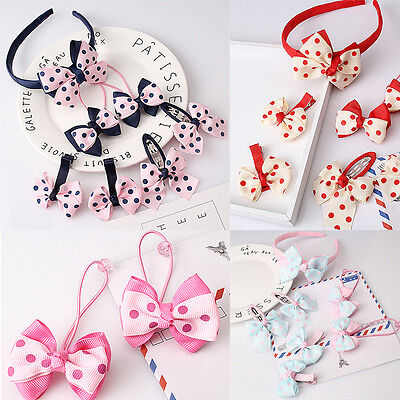 7Pcs/Set Kids Girls Baby Headband Toddler Bowknot Hair Band Accessories Headwear