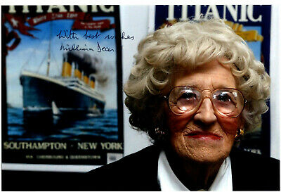 MIllvina Dean 4x6 Signed  Photo White Star Line RMS Olympic/Titanic Interest.