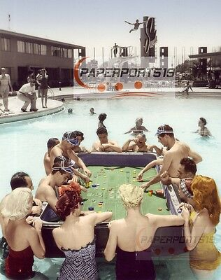 SANDS Casino Vintage Las Vegas FLOATING CRAPS DICE TABLE Pool Hand Colored PHOTO