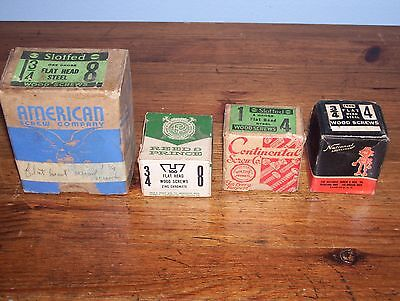 Lot of 4 Vintage Boxes Of Screws National, Continental, Reed Prince, American..