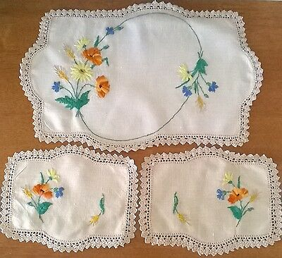 Vintage linen and lace cream hand embroidered set of doilies