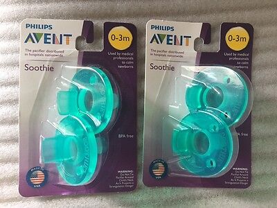 BRAND NEW! philips AVENT Soothie pacifier, Green, 0-3 months BPA Free -4 pack