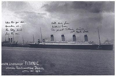 Millvina Dean Titanic Survivor Signed Photo 90th anniversary Of Sinking