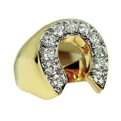 Mens Horse Shoe Lucky 18kt Gold Plated Tutone Ring New