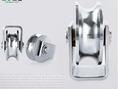 "2 Pack 3.5""inch Sliding Gate Roller 304SS U Groove Type Wheel Track Rail Bracket"