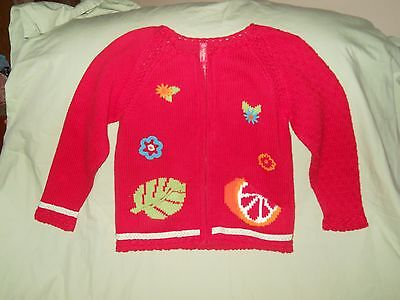HANNA ANDERSSON Red Zip Up Floral Sweater Jacket Size 130 8-10