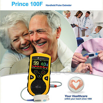 100F High Resolution Handheld Pulse Oximeter Puls Rate SpO2 Monitor +Alarm
