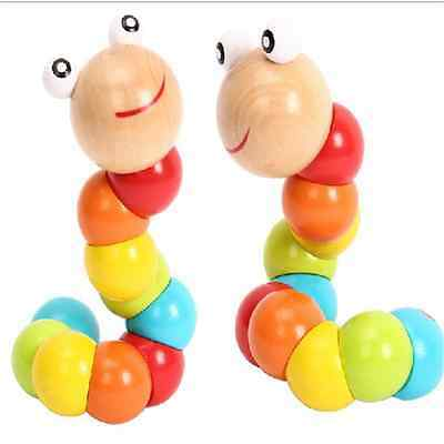 Cute Baby  Twist The caterpillar Wooden Toys Infant Creative Educational Toy SGD