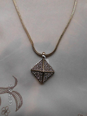 Ladies Gold Tone Pyramid Crystal Pendant & Chain.