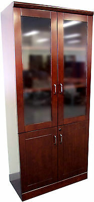 Office 1800H Storage Cabinet with Glass Top Doors - Redwood