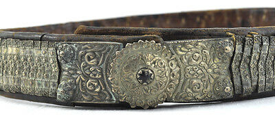 Antique 18c. Handmade Silver Leather Belt Buckle Ottoman Empire Greek Balkans